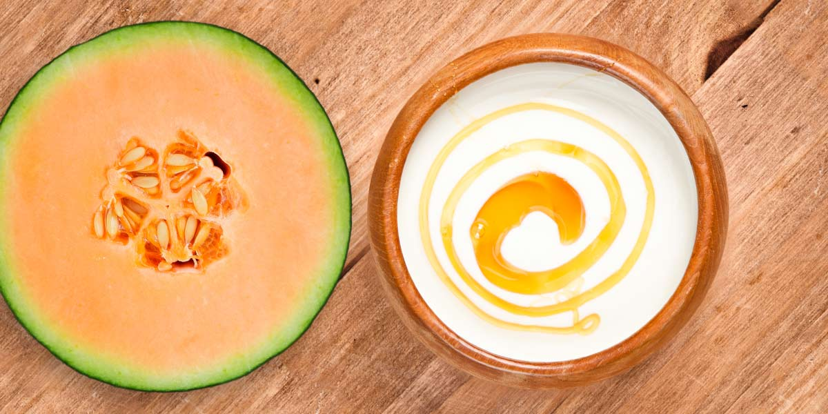 cantaloupe, yogurt, and syrup