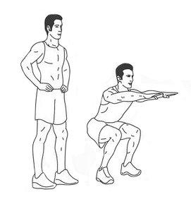 diagramme d'un homme faisant un squat